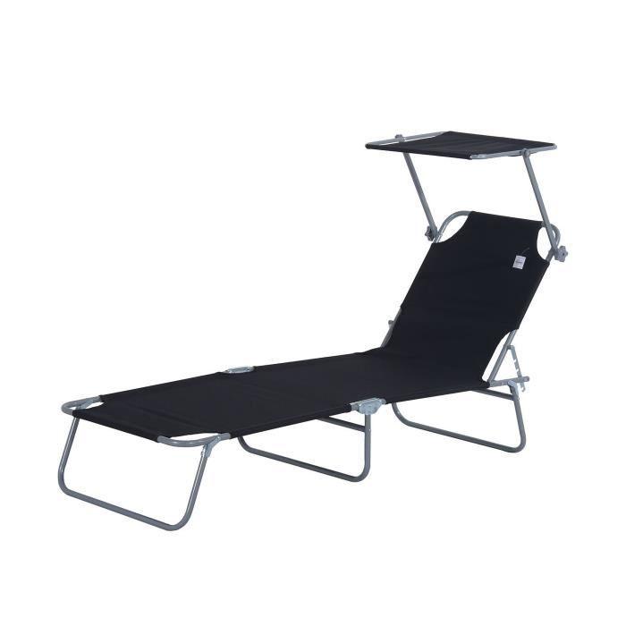 Transat bain de soleil pliable grand confort dossier et pare-soleil réglable multi-positions noir neuf 01BK