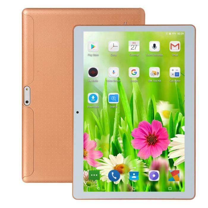 Tablette Android 10,1 pouces, tablette WiFi avec double caméra, stockage de 64 Go, tablette Android 8.0 PC, processeur quadricœur
