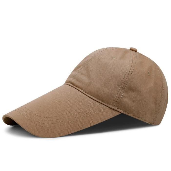 Casquette de Baseball à visière longue pour homme, chapeau de pêche, grande taille, décontract length 11cm khaki 55-60cm -AOAE7900