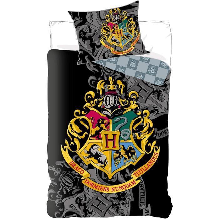 Parure de lit Harry Potter Réversible 100% Coton - Housse de Couette 135x200 cm + Taie d'oreiller 80x80 cm