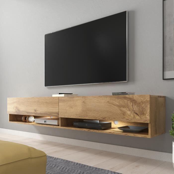 Meuble TV / Meuble de salon - WANDER - 180 cm - effet chêne wotan - avec LED - 2 niches ouvertes - style industriel