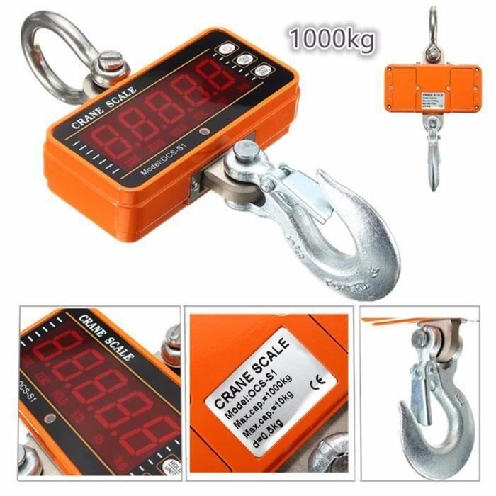 PFTEM 1000KG 2000LBS 1T Crochet peseur électronique Précision Digital Suspension Peson Écran LCD Grue Échelle