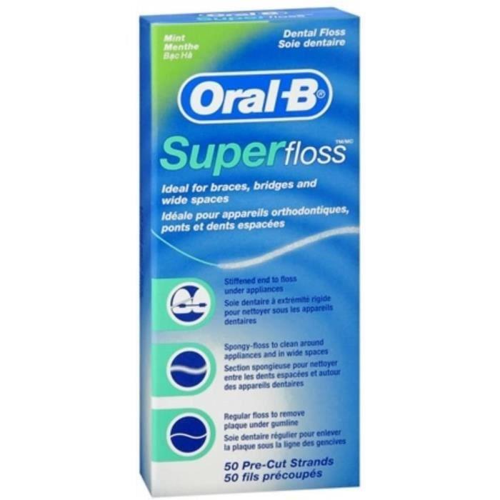 FIL DENTAIRE Oral B OralB Super Floss Fil dentaire Mint preacutedeacutecoupeacutes megraveches 50 EA lot de 18525