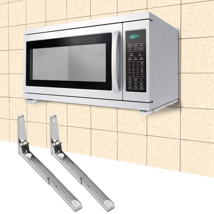 support micro-ondes mural support étagère Inox épaisseur évolutive pliable cuisine Hauteur 20cm