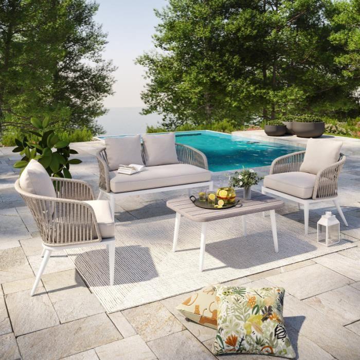 Salon de jardin cordes et aluminium - Blanc gris - intérieur/extérieur - CARMEN