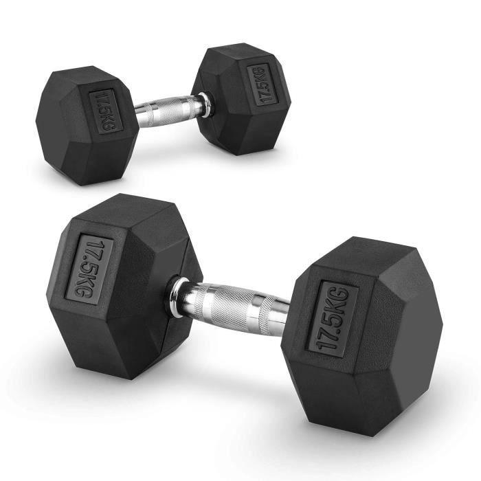 CAPITAL SPORTS Hexbell - Paire d'haltères courts pour musculation, cross-training… (caoutchouc résistant, prise chromée) - 2x 17,5kg