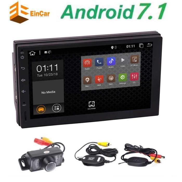 Caméra de recul sans fil à écran tactile capacitif Android 7.1 OS Miroir Lien Double DIN 2DIN voiture stéréo Bluetooth Navigation GP