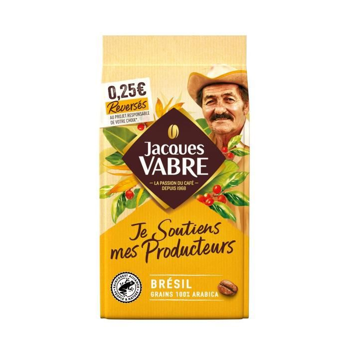 JACQUES VABRE Café Grains Je Soutiens mes Producteurs Brésil - 400 g