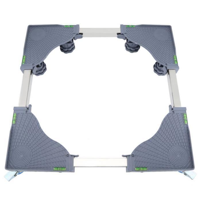 Support de base pour lave-linge laver automatique réglable pour support de modèles réfrigérateur réglable -8 pieds 4 roues-Gris
