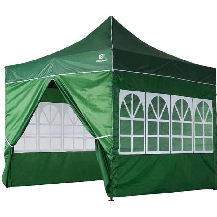 Tonnelle de Jardin 3mx3m Tente de Reception Pliante avec 4 Parois Latérales et Fenêtres pour Fête, Festival, Vert- Mondeer