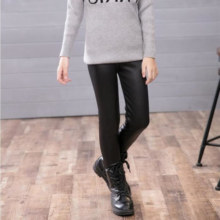pantalon d'hiver pour filles, leggings épaississants, en cuir, slim stretch pour enfant, plus un SURVETEMENT - JOGGING DE SPORT