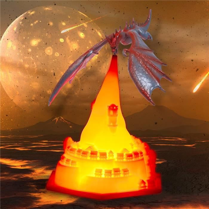 Lumière de dragon de feu 3D, avec veilleuse de château, décoration de veilleuse rechargeable, cadeaux de Noël pour enfants