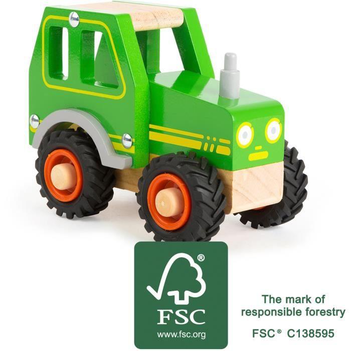 Small Foot- Tracteur en Bois pour Les Enfants de 18 Mois et Plus, certifié FSC 100%, Convient également aux Jeux Jouets, 11078, Vert