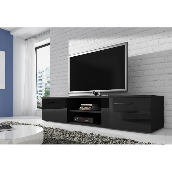vegas meuble tv contemporain d cor noir 150 cm achat vente meuble tv vegas meuble tv. Black Bedroom Furniture Sets. Home Design Ideas