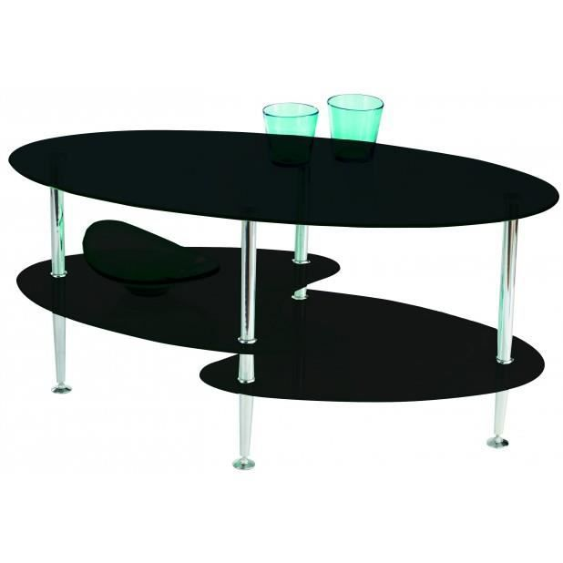 table basse en verre noir 3 plateaux joko chrome noir. Black Bedroom Furniture Sets. Home Design Ideas