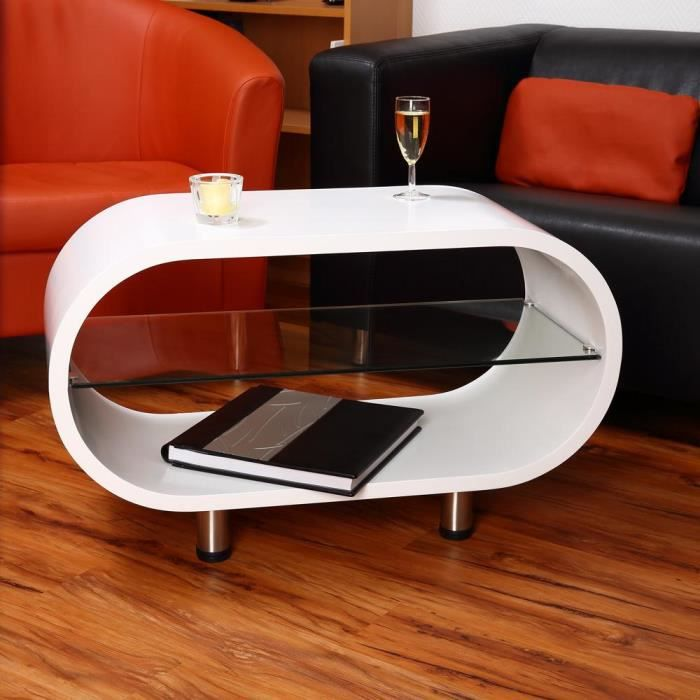 table basse blanche arrondie avec tablette en verr achat. Black Bedroom Furniture Sets. Home Design Ideas