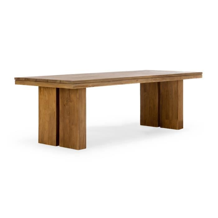 Table de jardin caracas slat 200x100 en teck naturel for Tables de jardin en teck