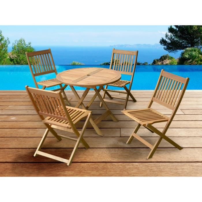 salon jardin bois exo table 4 chaises d90cm achat vente salon de jardin salon jardin bois. Black Bedroom Furniture Sets. Home Design Ideas
