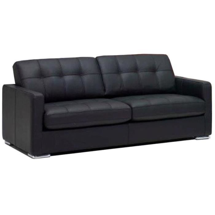 canap arezzo 3 places convertible ouverture express couchage 142 180 cm cuir co noir achat. Black Bedroom Furniture Sets. Home Design Ideas
