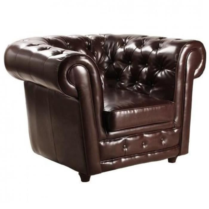 fauteuil chesterfield deluxe en cuir marron capito achat vente fauteuil marron cdiscount. Black Bedroom Furniture Sets. Home Design Ideas