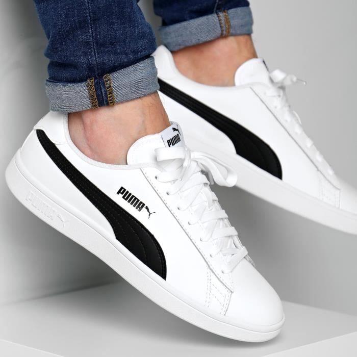 Basket Puma Smash Blanches et noires, 365215 01 - Cdiscount Chaussures