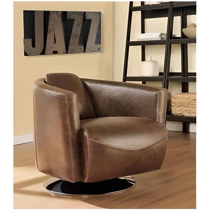 fauteuil club en cuir vieilli florentin achat vente. Black Bedroom Furniture Sets. Home Design Ideas