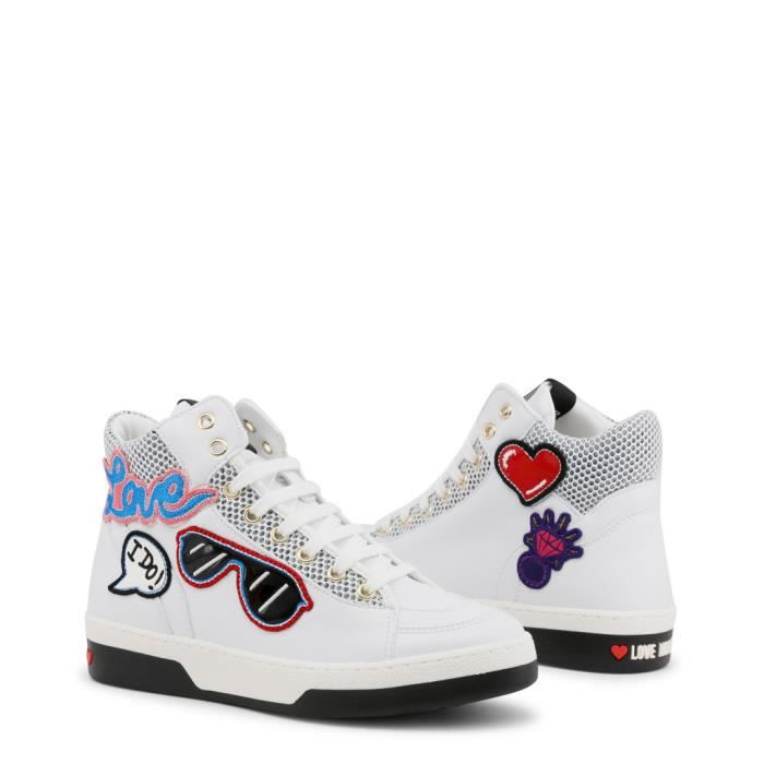 Blanc Pour Moschino Love Sneakers Femme ja15043g15ia 110a qR7Y4x