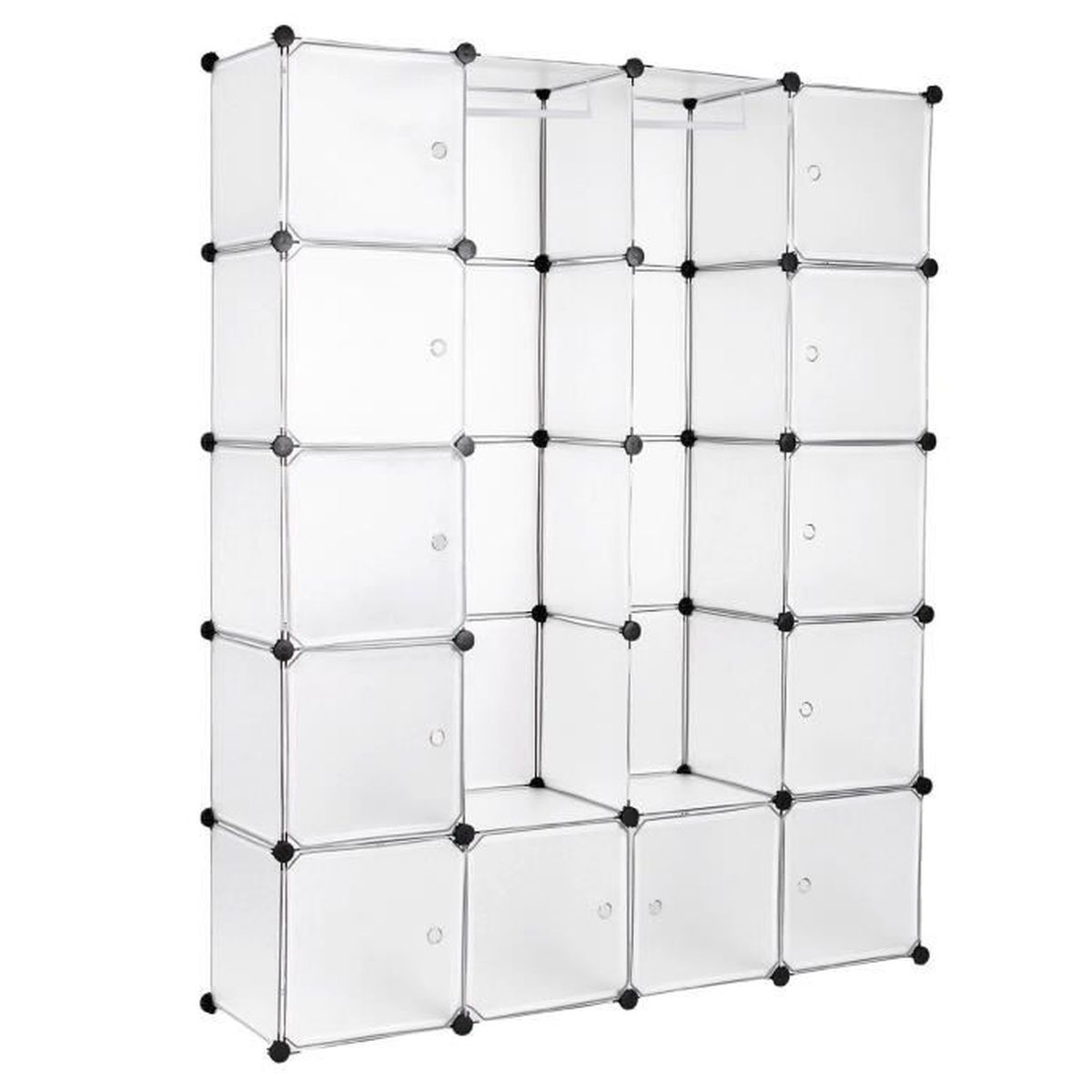 diy armoire penderie cubes tag re de rangement modulables plastiques cadre en m tal blanc 180 x. Black Bedroom Furniture Sets. Home Design Ideas