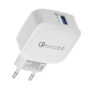 CHARGEUR TÉLÉPHONE QC3.0 pour iphone, chargeur mural USB 1 port USB 5