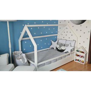 LIT BÉBÉ Solenzo - Lit cabane pour enfant avec sommier et b