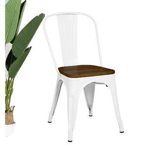 CHAISE KOSMI - Chaise Blanche en métal et Bois foncé Styl