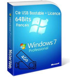 CLÉ USB Clé USB Bootable Windows 7 Pro 64 Bit licence