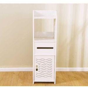 COLONNE - ARMOIRE WC Meuble WC étagère bois blanc hauteur 68cm étagère