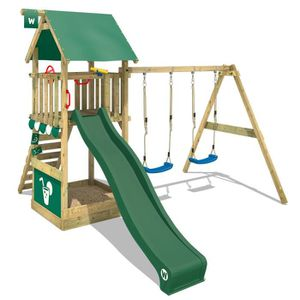 portique en bois WICKEY Ancrage en acier galvanisé à chaud pour aire de jeux