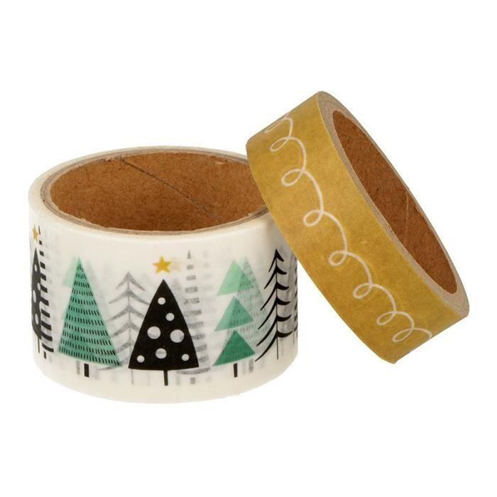 2 masking tape de Noël sapin - 5 m x 3 cm