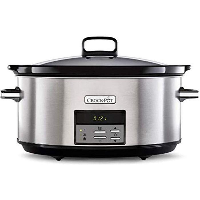 Crock-Pot Mijoteuse numérique avec cocotte compatible four - 7,5 l (10 personnes ou plus) - Compatible lave-vaisselle - Acier inoxyd