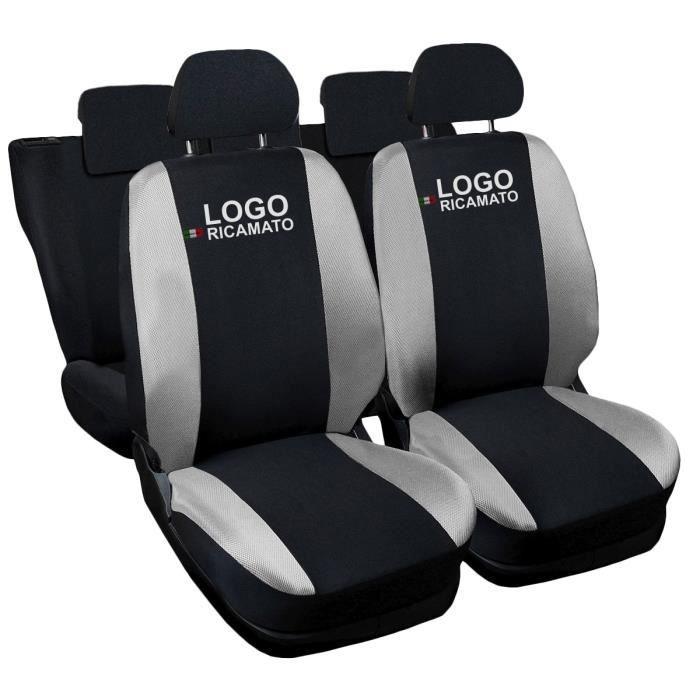 Housses de siège deux-colorés pour Volkswagen Polo - noir gris clair