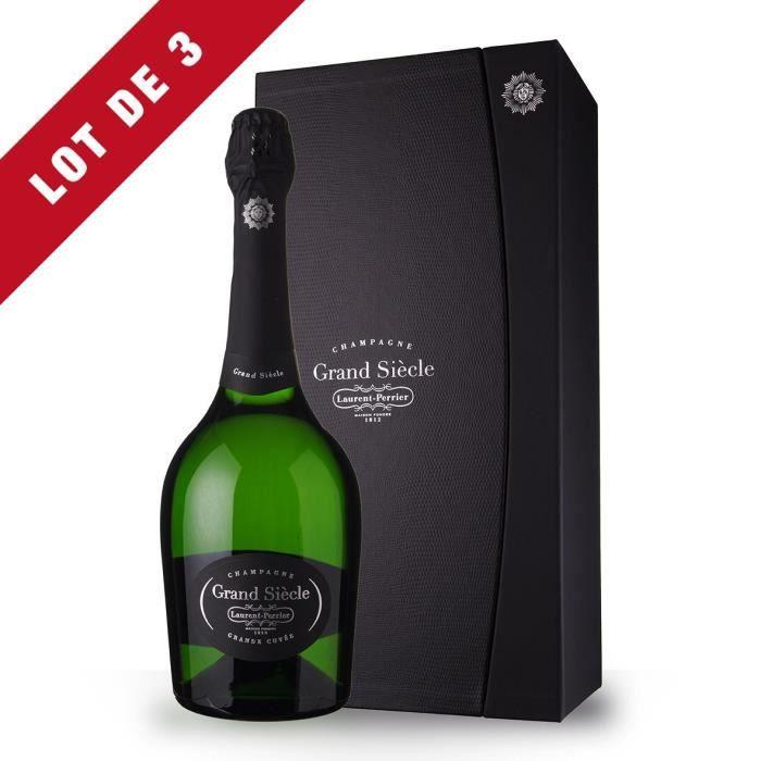 3X Laurent-Perrier Grand Siècle Brut 75cl - Coffret - Champagne