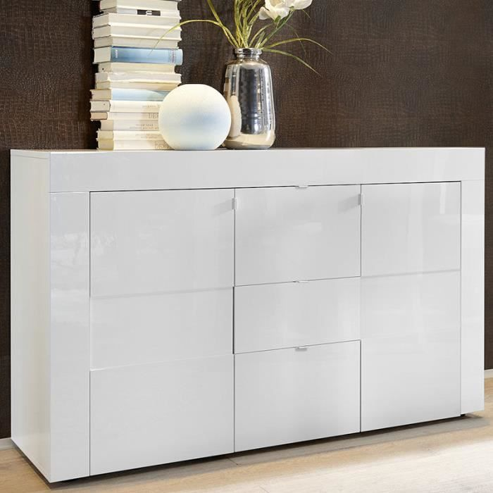 Buffet design 2 portes 3 tiroirs blanc laqué TUNIS