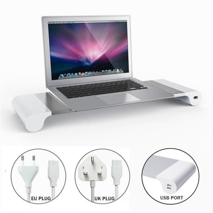LR Aluminium Moniteur Usb Riser Stand Support Pr Pc Laptop Imac Ordinateur Portable Eu Plug - LRAVC824A2022