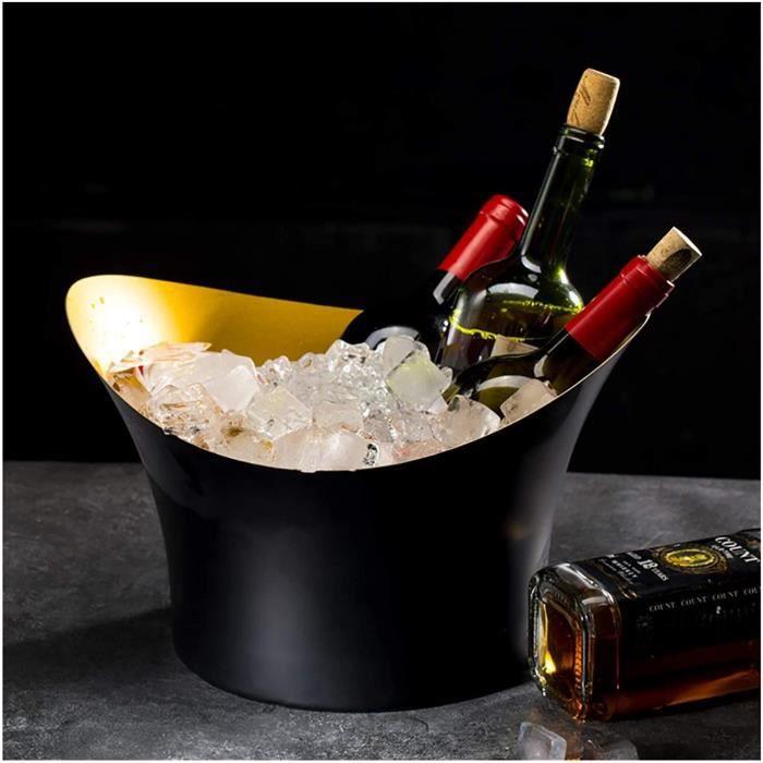 Sceau A Glacon, Seau À Champagne, Seau De Glace pour Jardin, Rafraichisseur De Bouteille De Vin, Seau À Glace Effet D'aluminium 152