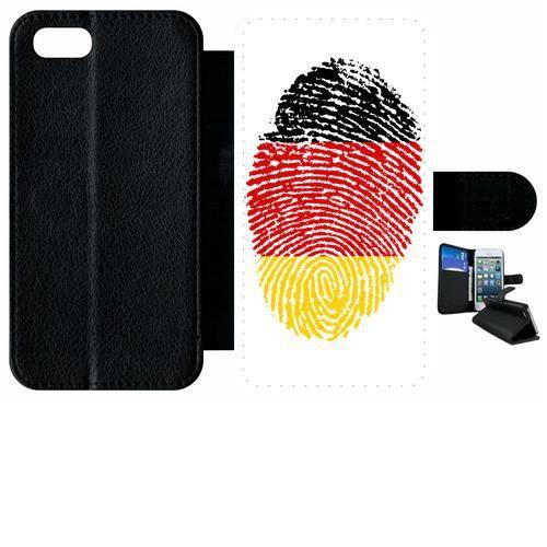 Etui a rabat - Plastique - Noir Apple iPhone 7 62 EMPREINTE DIGITALE DRAPEAU ALLEMAGNE GERMANY