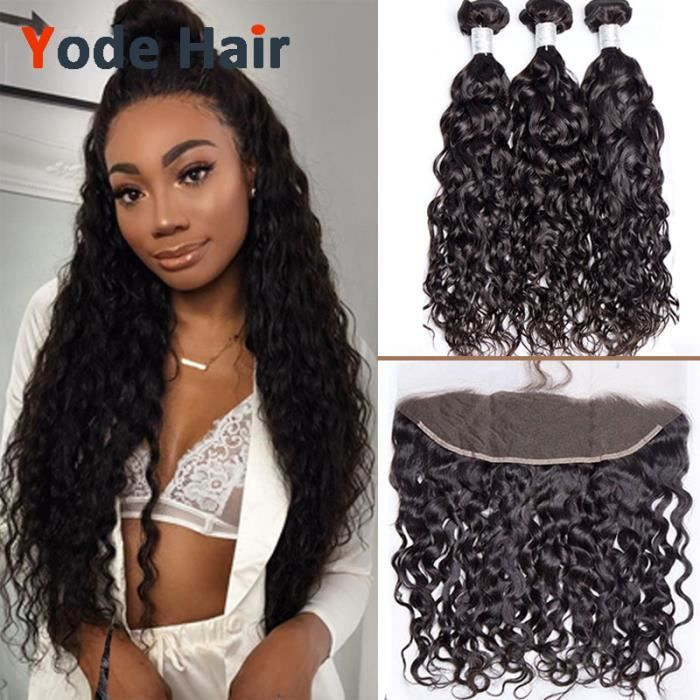 "LOT 3 Tissage Indien water wave cheveux human natural 100g/pc 20""22- 24- avce 13x4 frontal 18 pouce"