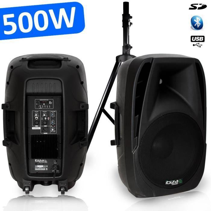 Enceinte amplifiée SONO DJ PA 500 W USB-SD-Bluetooth BT-15A + Pied