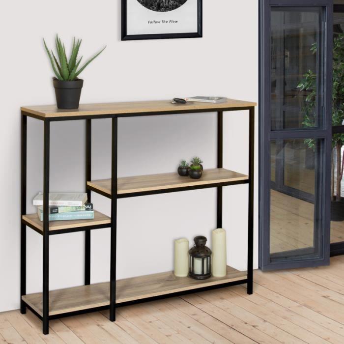 ID MARKET - Etagère bibliothèque DETROIT design industriel avec étagères