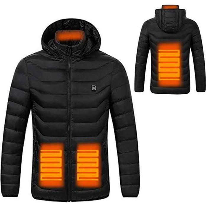 Veste Chauffante Electrique Intelligent Hiver Veste Batterie Thermique Manteau pour Activités de Plein Air Chasse Randonnée - Noir