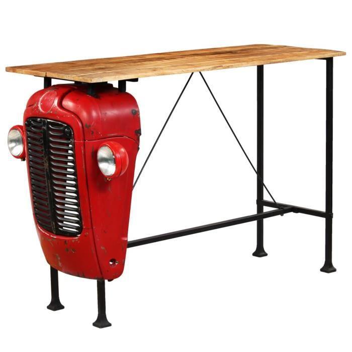 3058®TOP Nouveau Table de Bar Haute Table de Comptoir-Table de Bar Extérieur-Mange-debout Cuisine Bois de manguier 60x150x107 cm Rou