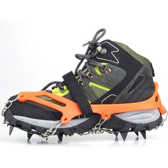 1 paire 12 dents griffes Crampons anti-dérapant chaussures couvrent inox chaîne Outdoor Ski glace neige randonnée Orange