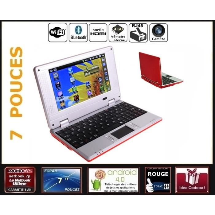 netbook rouge cran 7 pouces android 4 0 wifi 4go. Black Bedroom Furniture Sets. Home Design Ideas