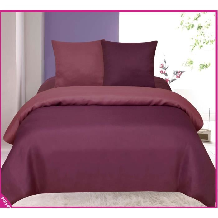 housse de couette violet et lilas bicolore tendre nuit 2 places 3 pcs achat vente. Black Bedroom Furniture Sets. Home Design Ideas